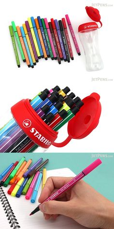 Stabilo 68 Markers contain odorless water-based ink, and the vivid colors stand out whether used for bold lettering or blocks of color. School Supplies, Craft Supplies, Office Supplies, Stabilo Pen 68, Bullet Pen, Notebook Binder, Pen Collection, Jet Pens, Stationery Pens