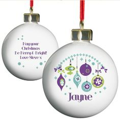 Best Selection Of Personalised Christmas Baubles For Free Gift Wrapping & Fast Delivery. Choose Your Xmas Baubles Personalised With Your Name & We'll Send Them Straight To Your Christmas Tree! Personalised Christmas Decorations, Personalized Christmas Gifts, Xmas Baubles, Babies First Christmas, Make A Gift, Xmas Crafts, Merry And Bright, Christmas Bulbs, Retro