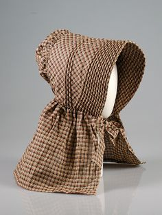 Sunbonnet    Date:      ca. 1840  Culture:      American  Medium:      Cotton  Credit Line:      Brooklyn Museum Costume Collection at The Metropolitan Museum of Art, Gift of the Brooklyn Museum, 2009; Gift of Mrs. Bergen Glover, 1961  Accession Number:      2009.300.5238