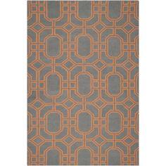 Safavieh Hand-woven Moroccan Reversible Dhurrie Blue/ Orange Wool Rug (5' x 8') (DHU860B-5), Size 5' x 8'
