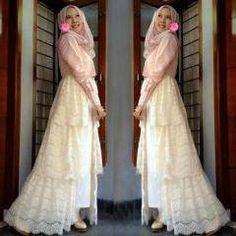 Model Gamis pesta Mix Brokat Murah - baju muslim pesta | kaoskeren.net