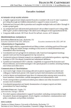 Sample Resume For Executive Administrative Assistant Resume For An Executive  Assistant Susan Ireland Resumes, Administrative Aide Sample Resume Credit  ...  Resume Executive Summary Sample