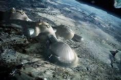 Space future, ESA, life in space, 3D printed lunar base, futuristic technology, future moon base