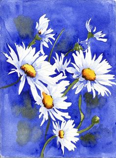 floral watercolor paintings at DuckDuckGo Watercolor Pictures, Watercolor Flowers, Watercolor Paintings, Watercolours, Daisy Painting, Painting & Drawing, Daisy Art, Beautiful Paintings, Painting Inspiration