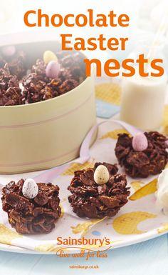 #Easter #ChocolateNests #EasterChocolate #BankHoliday #SainsburysRecipes Chocolate Easter Nests, Donuts, Sainsburys Recipes, Easter Treats, Easter Recipes, Tray Bakes, Sweet Treats, Yummy Food, Baking