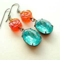 Sparkling Aqua Tangerine Glass Jewel Earrings Vintage by skeptis