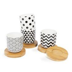 4er-Set Tassen mit Untertassen BLACK & WHITE aus Porzellan