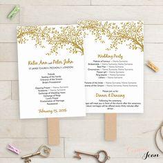 DIY Wedding Program fan printable Template folded by ConnieAndJoan