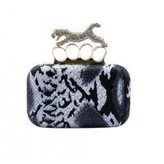 Ladies Snakeskin Leopard Rhinestone Four Rings Clutch Evening Party Purse Handbag-Black