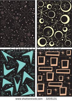 Four different retro pattern tiles. Can be tiled, seamed, scaled, repeated, etc. Fully editable vector illustration. by April Turner, via ShutterStock