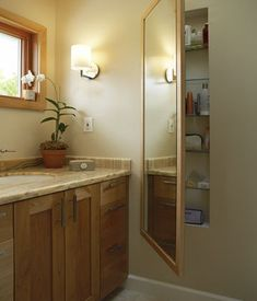 Full Length Mirror in Bathroom conceals storage