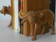 Bookends pair African buffalo Set of art hand by ExclusiveFinds
