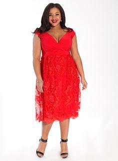Adelle Plus Size Cocktail Dress in Garnet Lace