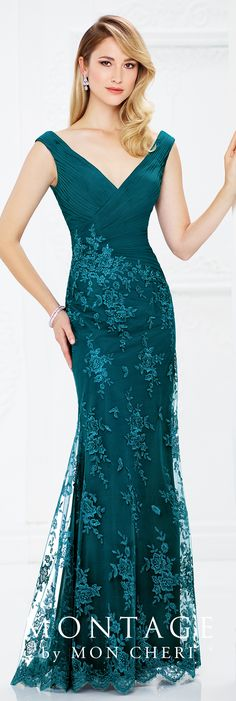Formal Evening Gowns by Mon Cheri - Fall 2017 - Style No 217936 - teal sleeveless fit and flare evening dress with ruched bodice and hand-beaded lace appliqué skirt