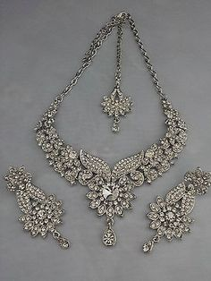 Indian Bollywood Silver Crystal Jewellery set inc Necklace, Earring and Tikka in Jewellery & Watches, Costume Jewellery, Necklaces & Pendants | eBay