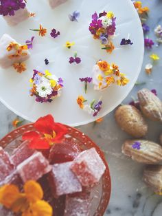 Edible flowers atop the cutest tea cakes!