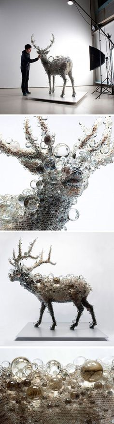 Deer sculpture made completely of glass. Amazing.