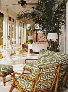 Lamps are perfect on a porch. Need special indoor/outdoor lamps if the space isn't enclosed like this. summer porch ideas - Google Search