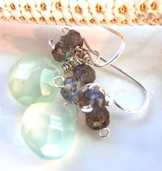 sea green faceted chalcedony and labradorite 'dew by jeweledtriton, $39.00