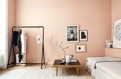 Salmon bedroom walls