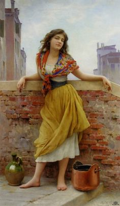 Reproduction Painting Eugene De Blaas The Water Carrier, Hand-Painted Reproductions Art Oil On Canvas Italian Painters, Fine Art, Beautiful Paintings, Classic Paintings, Oeuvre D'art, Female Art, Art History, Amazing Art, Art Photography