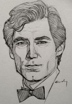 Portrait Sketch - Timothy Dalton by KTGay.deviantart.com on @deviantART