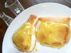 Home made brioche-lemon curd-ice cream sandwich