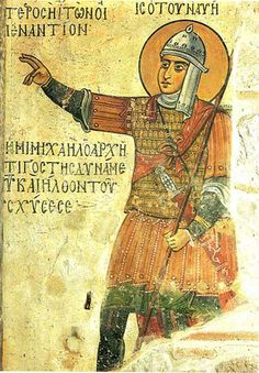 Byzantine Fresco of Joshua from Hosios Loukas (St. Lucas) monastery in Boeotia, Greece, century. Byzantine Army, Byzantine Gold, Fresco, Varangian Guard, Sassanid, 12th Century, Dark Ages, Roman Empire, North Africa