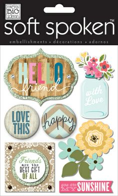 me & my BIG ideas:  April handmade card using mambi embellishments.  SS-1511 Mason Jar Hello Friend soft spoken mambi embellishment.