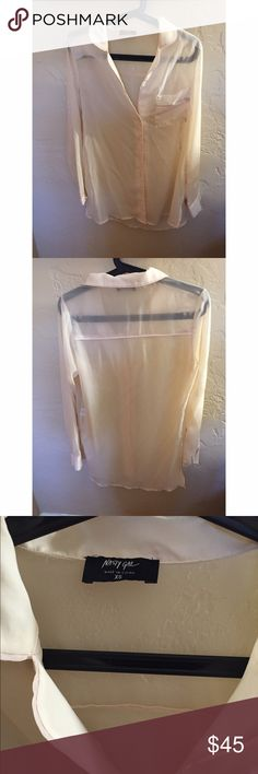 Nasty Gal Cloud Grazer Blouse✨ Cream long sleeve sheer long blouse. Never worn. New without tags. Feel free to make offers! Nasty Gal Tops Button Down Shirts