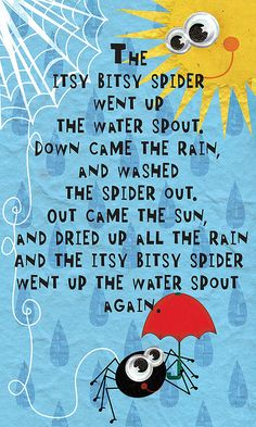 14 best nursery rhymes images on pinterest in 2018 nursery rhymes itsy bitsy spider how many times did i sing these lyrics with my kids and they giggled as my fingers imitated the spider walking on them stopboris Images