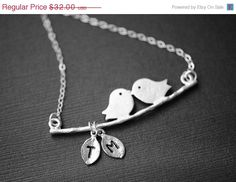 LOVE BIRD NecklacePRE-ORDERSterling Silver with Two Initial Leaves - Initial Necklace