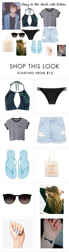 """Going to the beach with Ashton."" by blurbs5sos ❤ liked on Polyvore featuring Topshop, Melissa Odabash, Havaianas, Zhuu, Ray-Ban and Lulu DK"