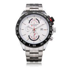 Curren 8148 Stainless Steel Black White Men Wrist Quartz Watch #Curren #Casual