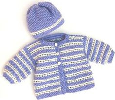 Baby Wrap Jacket And Hat - Free Knitted Pattern - (redheart) Baby Boy Knitting Patterns Free, Baby Sweater Patterns, Baby Cardigan Knitting Pattern, Knitted Baby Cardigan, Knit Baby Sweaters, Knitting For Kids, Baby Knitting Patterns, Baby Patterns, Free Knitting