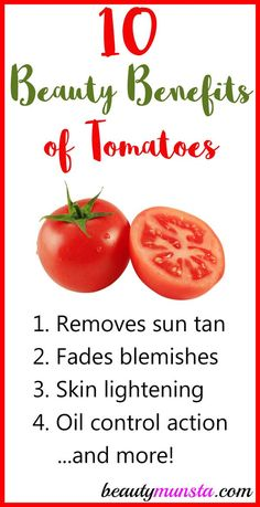The beauty benefits of tomatoes are shocking! From skin lightening to acne removal, find out how tomatoes can help you improve your natural beauty. Beauty Tips For Skin, Natural Beauty Tips, Health And Beauty Tips, Natural Cures, Health And Wellness, Beauty Hacks, Face Beauty, Beauty Care, Natural Hair