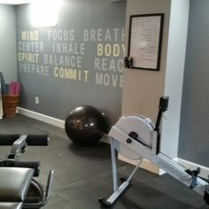 Hand painted inspiration wall in my Home  Gym/Yoga studio