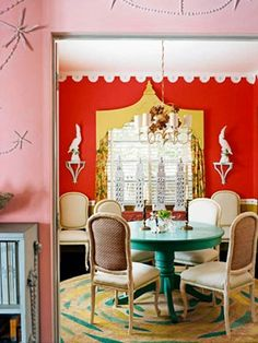 Red, Turquoise, Lemon, and Pink. dining room with orange walls and turquoise table Design Websites, Turquoise Table, Red Turquoise, Aqua, Wooden Valance, Paint Color Combos, Color Schemes, Color Combinations, Colour Combo