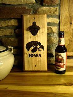 Bottle Opener Diy Wood Projects, Wood Crafts, Fun Crafts, Beer Bottle, Bottle Opener, Barn Wood Signs, Iowa Hawkeyes, Barn Quilts, Wood Blocks