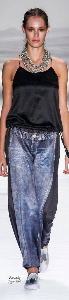 Oversized denim jeans with black side insert. Upcycled. patchwork. Uma Raquel Davidowicz - S/S 2015