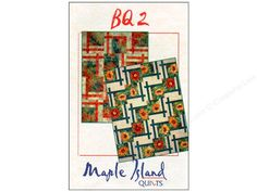 """Maple Island Quilts BQ2 Pattern- Quilt patterns from Maple Island Quilts are just a bit untraditional. There are bold looks and clean design lines that allow you to put your own look into the quilt through fabric selection, block rotations and placement! This design has you moving the center squares off center and cross the frames for more big quilt fun. Easy construction and borderless for an uptempo look. Choose 18"""" or 13 1/2"""" blocks in two quilt sizes each and rotate for many designs…"""