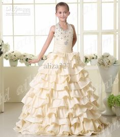 New Pageant Dresses for children | Beautifu Halter Girl Kids Pageant Dress Ball Gown Formal ....4 6 8 10 ...
