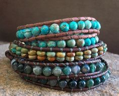 Leather Beaded Wrap Bracelet, Turquoise 2x Wrap Bracelet, Double Wrap Southwestern Bracelet, Top Bracelet in Picture