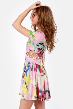 Cool Print Dress - Cutout Dress - Short Sleeve Dress - $42.00