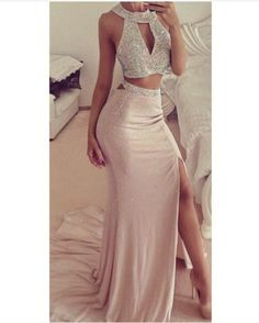 Beaded Prom Dresses,Beading Prom Dress,Sexy Prom Gown,2 Pieces Prom Gowns,Elegant Evening Dress,Two on Luulla
