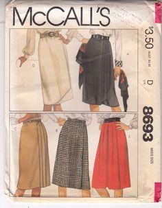 Wrap Skirt Soft Pleats Gathered Front McCalls Sewing Pattern 8693 Sz 14-16 Uncut #McCalls #Wrapskirt