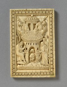 The Maries at the Sepulchre (Panel) Carolingian, Dark Ages, Middle Ages, Wood Carving, Wood Art, Medieval, Empty Tomb, Religion