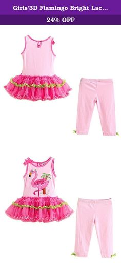 Girls'3D Flamingo Bright Lace Dress And Cropped Pants Set 5T. Girls'3D Flamingo Bright Lace Dress And Cropped Pants Set.