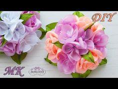 Зажимы для волос с букетиком роз . Канзаши МК/DIY - YouTube