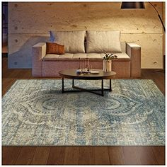 Superior Salford Collection Area Rug, Pile Height with Jute Backing, Fashionable and Affordable Rugs, Distressed Vintage Persian Rug Design - x Rug, Blue and Beige. Additional overdyed and distressed area rugs to choose from. Persian Rug Designs, Mold And Mildew, Moroccan Pattern, Contemporary, Beige Area Rugs, Online Home Decor Stores, Rugs, Colorful Rugs, Area Rugs